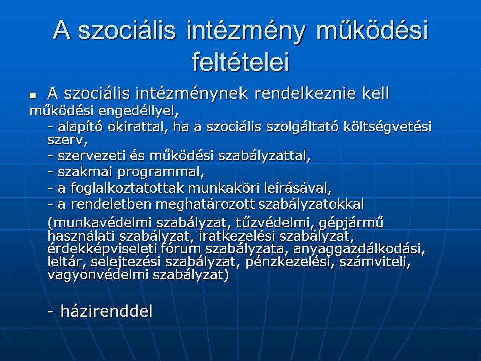 A szociális intézmény működési feltételei
