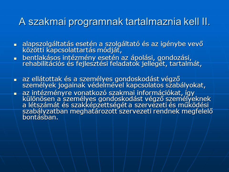A szakmai programnak tartalmaznia kell II.