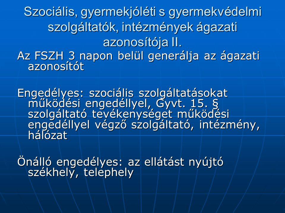 Szociális, gyermekjóléti s gyermekvédelmi szolgáltatók, intézmények ágazati azonosítója II.