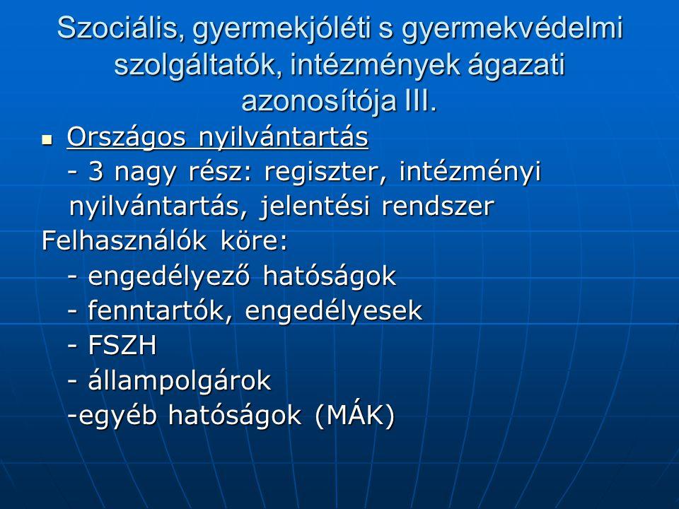 Szociális, gyermekjóléti s gyermekvédelmi szolgáltatók, intézmények ágazati azonosítója III.