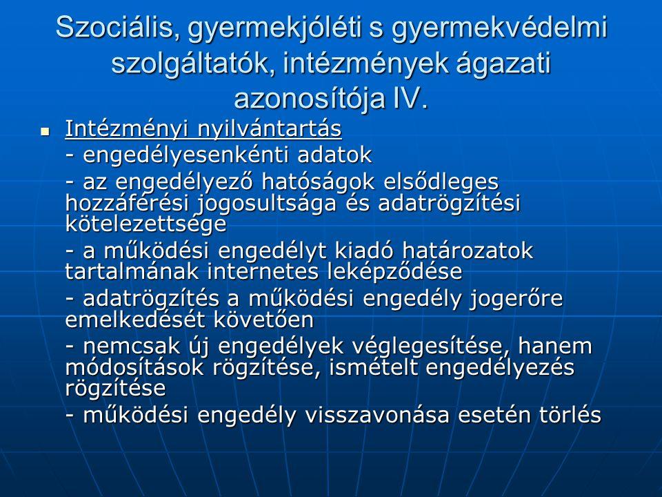 Szociális, gyermekjóléti s gyermekvédelmi szolgáltatók, intézmények ágazati azonosítója IV.