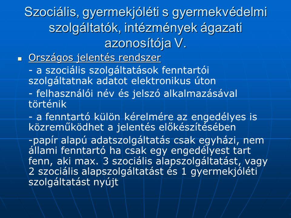 Szociális, gyermekjóléti s gyermekvédelmi szolgáltatók, intézmények ágazati azonosítója V.