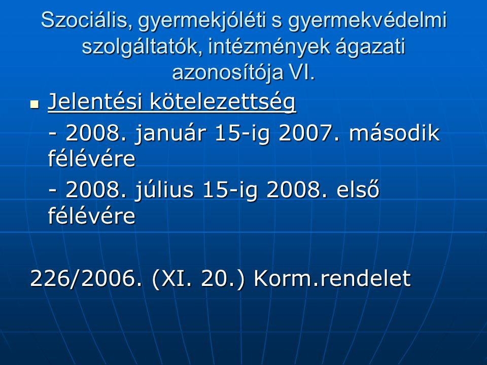 Szociális, gyermekjóléti s gyermekvédelmi szolgáltatók, intézmények ágazati azonosítója VI.