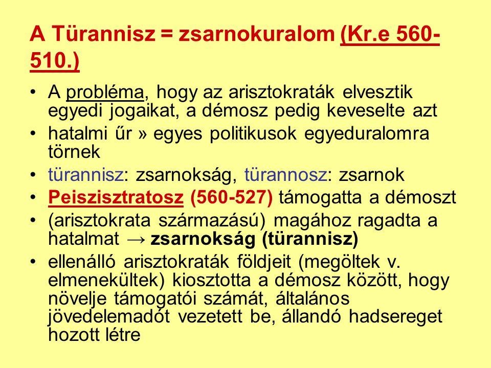 A Türannisz = zsarnokuralom (Kr.e 560-510.)