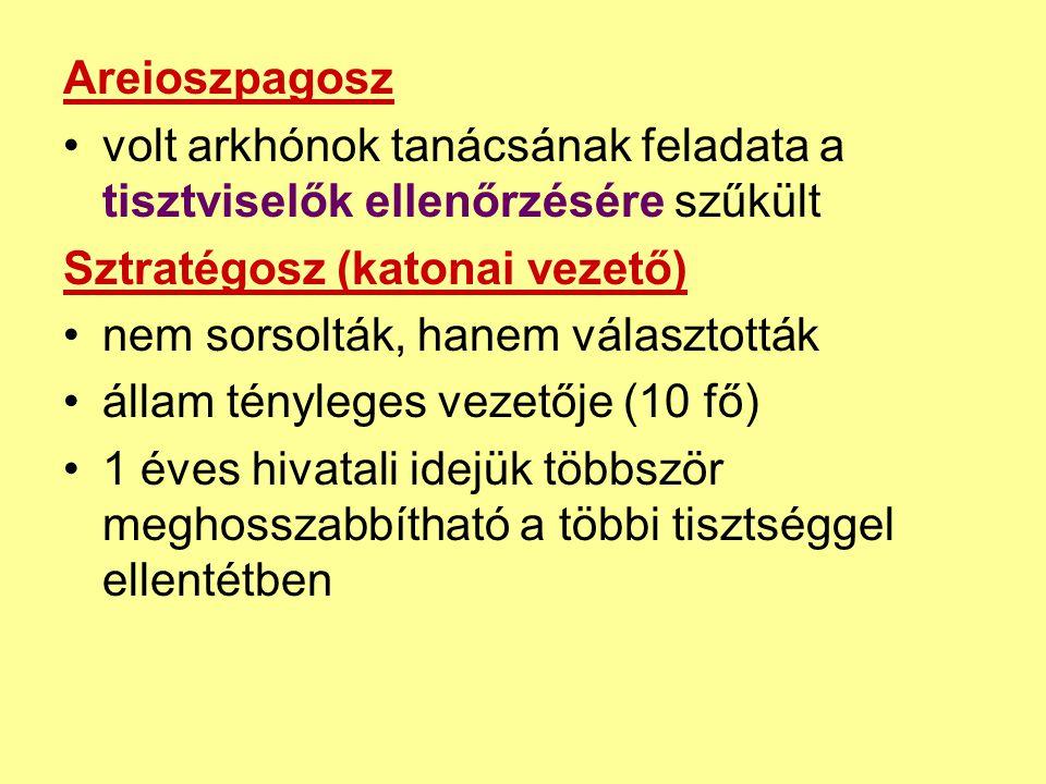 Areioszpagosz volt arkhónok tanácsának feladata a tisztviselők ellenőrzésére szűkült. Sztratégosz (katonai vezető)