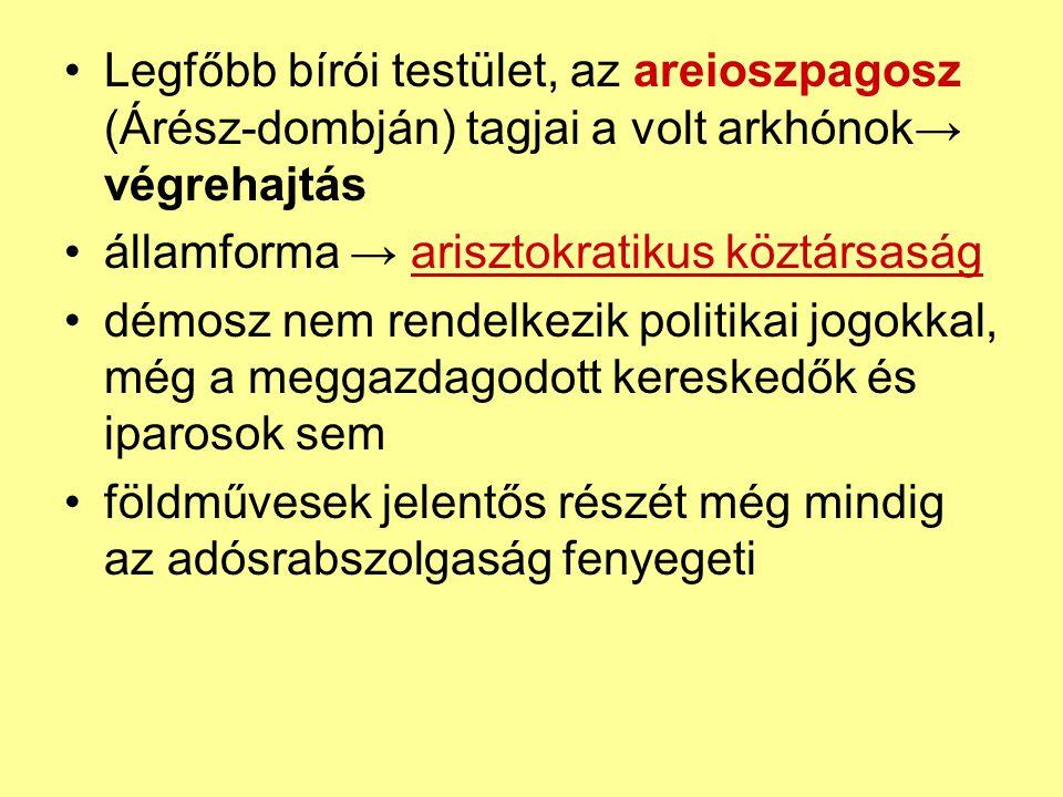 Legfőbb bírói testület, az areioszpagosz (Árész-dombján) tagjai a volt arkhónok→ végrehajtás
