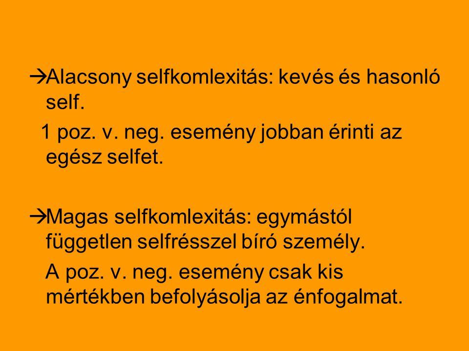 Alacsony selfkomlexitás: kevés és hasonló self.