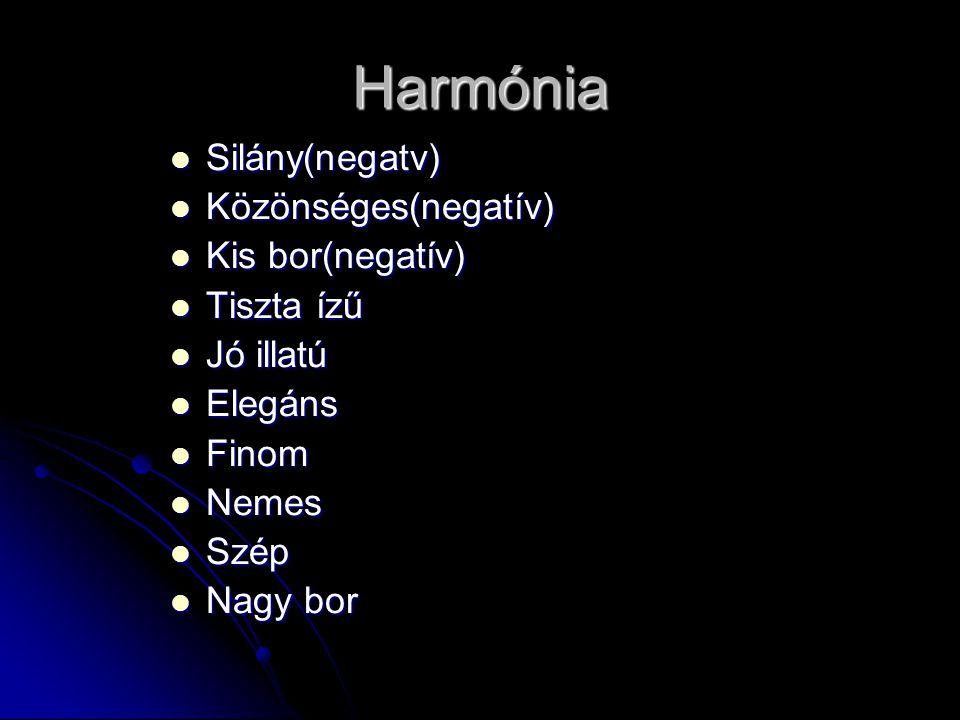 Harmónia Silány(negatv) Közönséges(negatív) Kis bor(negatív)