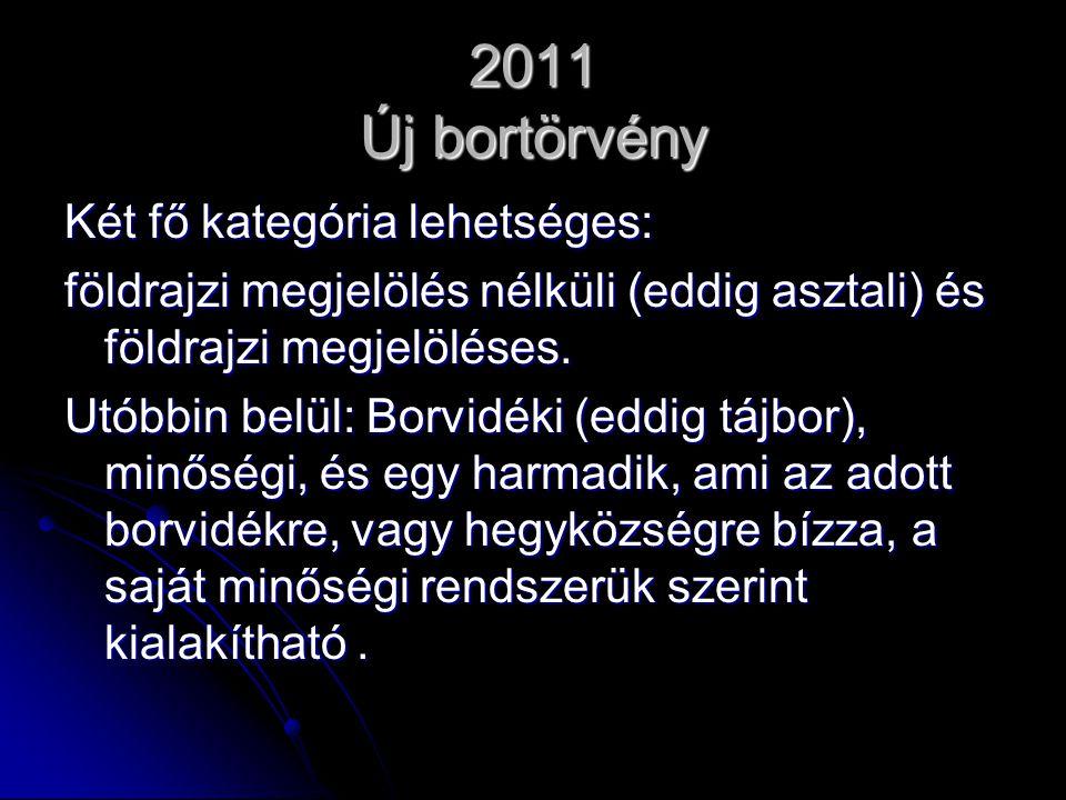 2011 Új bortörvény Két fő kategória lehetséges:
