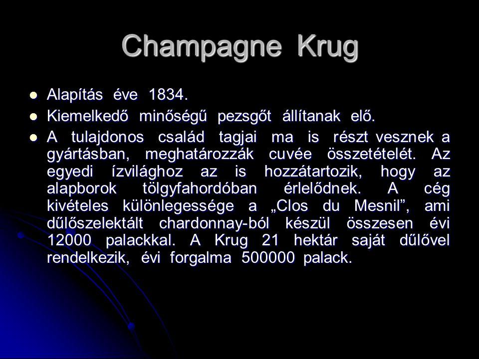 Champagne Krug Alapítás éve 1834.