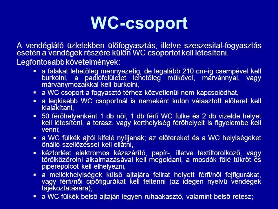 WC-csoport A vendéglátó üzletekben ülőfogyasztás, illetve szeszesital-fogyasztás esetén a vendégek részére külön WC csoportot kell létesíteni.
