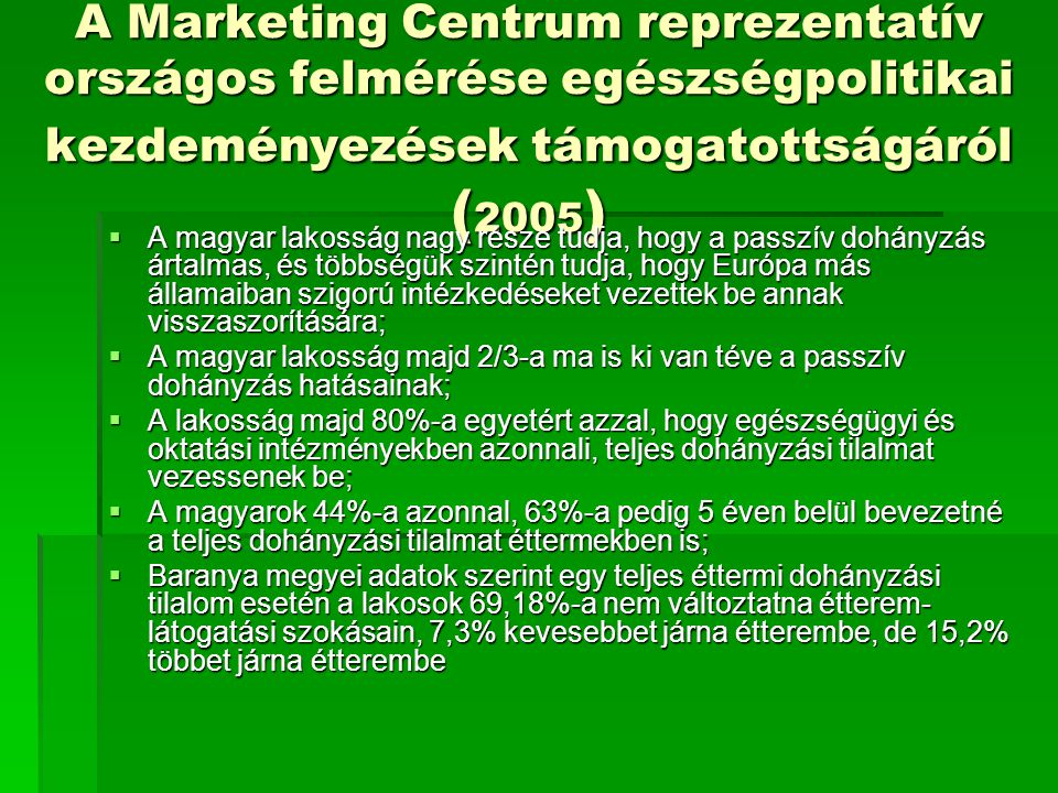 A Marketing Centrum reprezentatív országos felmérése egészségpolitikai kezdeményezések támogatottságáról (2005)