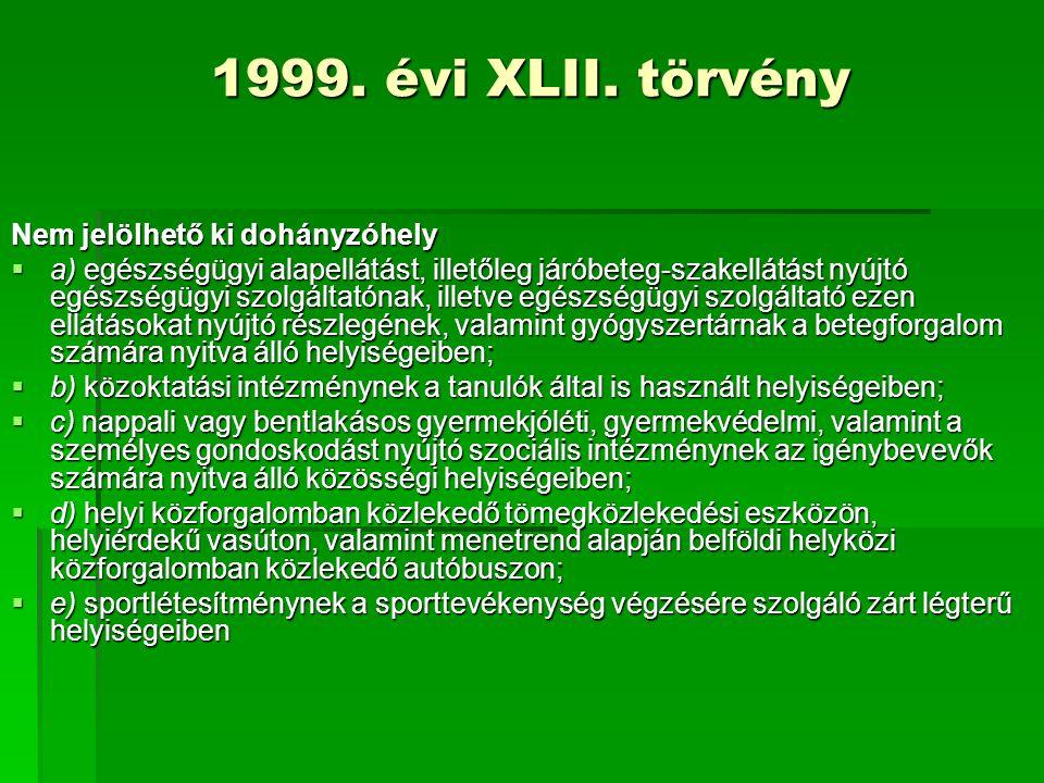 1999. évi XLII. törvény Nem jelölhető ki dohányzóhely