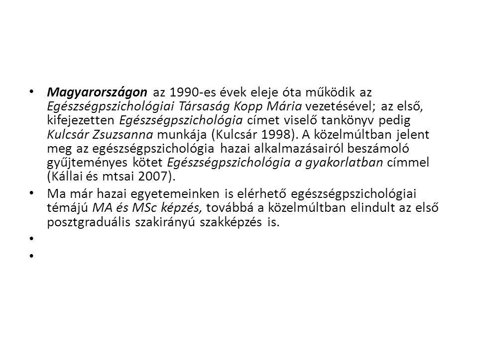 Magyarországon az 1990-es évek eleje óta működik az Egészségpszichológiai Társaság Kopp Mária vezetésével; az első, kifejezetten Egészségpszichológia címet viselő tankönyv pedig Kulcsár Zsuzsanna munkája (Kulcsár 1998). A közelmúltban jelent meg az egészségpszichológia hazai alkalmazásairól beszámoló gyűjteményes kötet Egészségpszichológia a gyakorlatban címmel (Kállai és mtsai 2007).