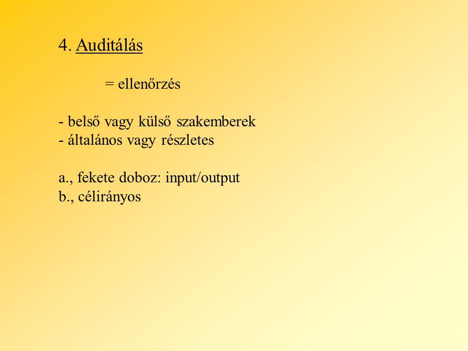 4. Auditálás = ellenőrzés - belső vagy külső szakemberek