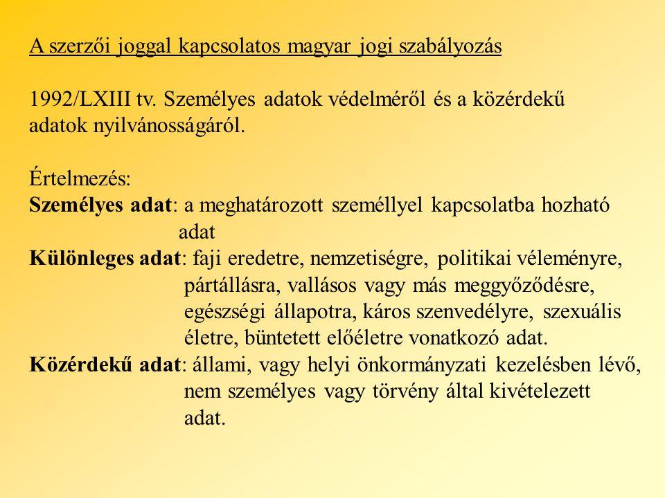 A szerzői joggal kapcsolatos magyar jogi szabályozás