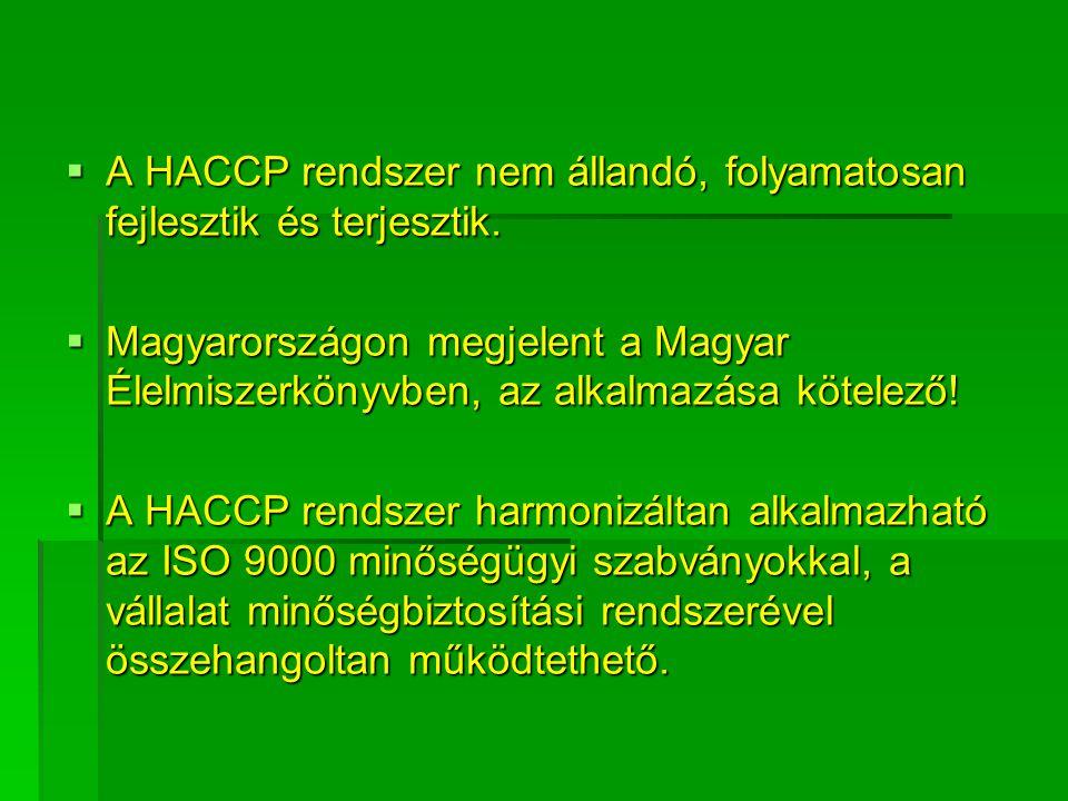 A HACCP rendszer nem állandó, folyamatosan fejlesztik és terjesztik.