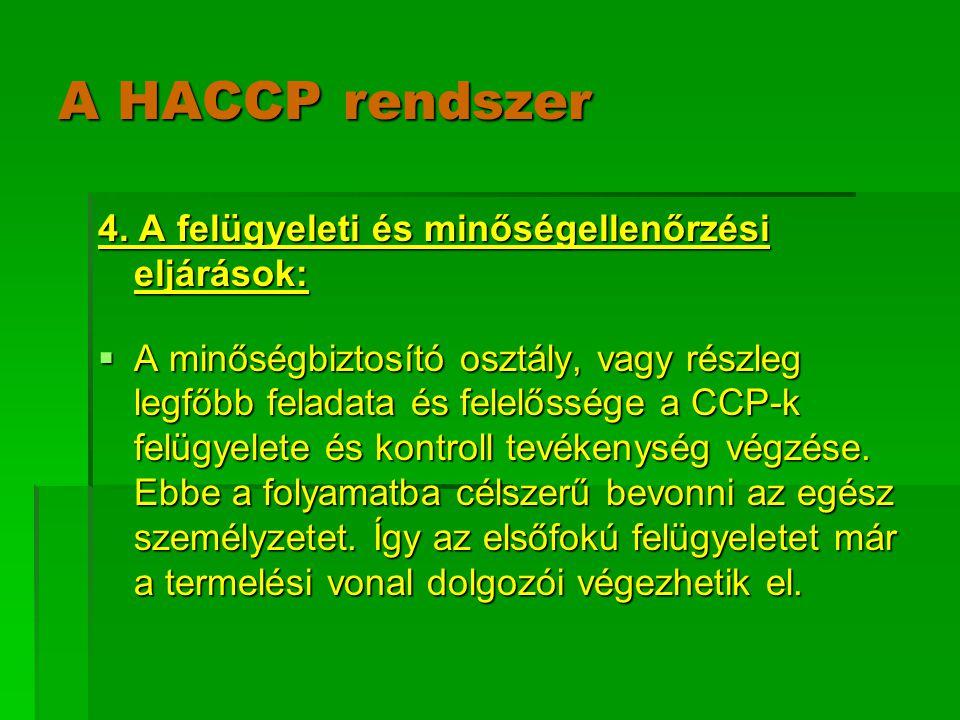 A HACCP rendszer 4. A felügyeleti és minőségellenőrzési eljárások: