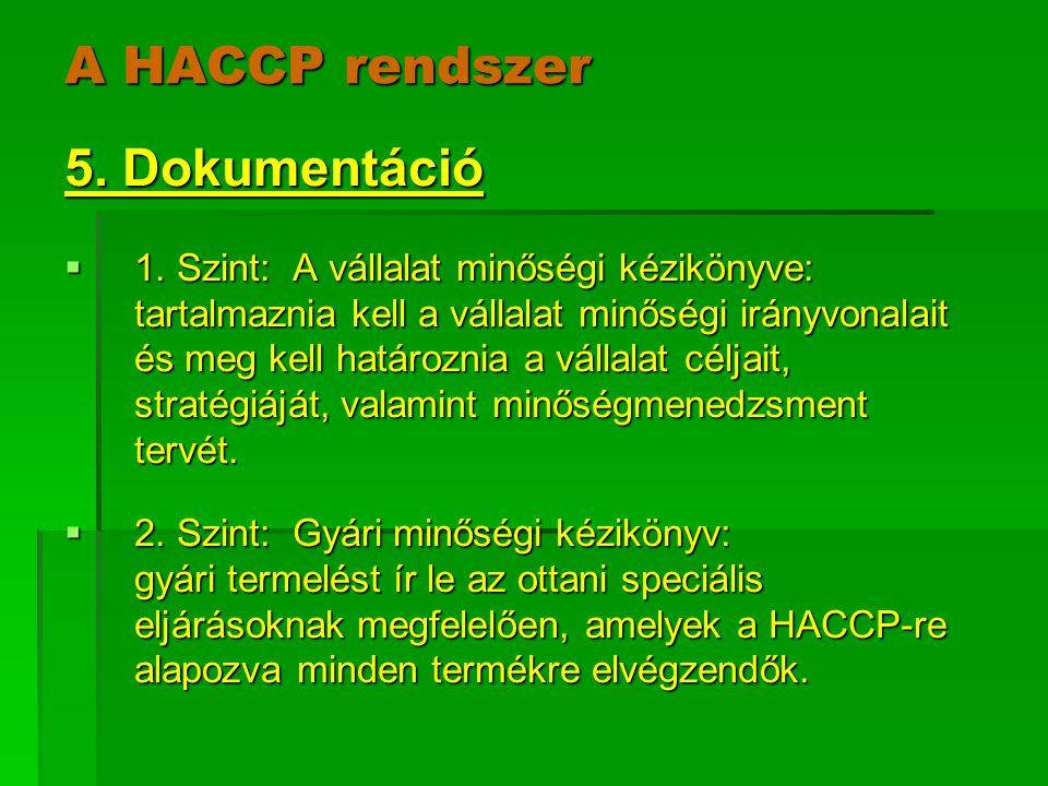A HACCP rendszer 5. Dokumentáció