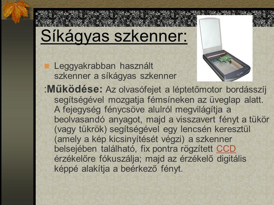 Síkágyas szkenner: Leggyakrabban használt szkenner a síkágyas szkenner.