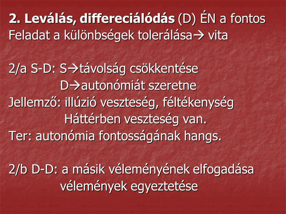 2. Leválás, differeciálódás (D) ÉN a fontos