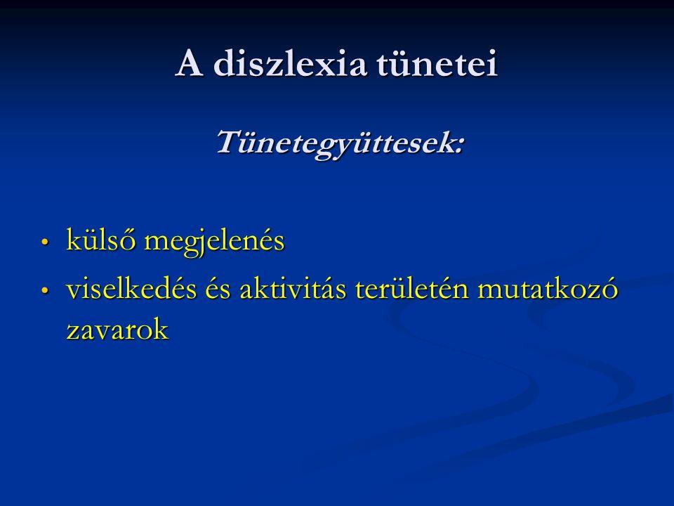 A diszlexia tünetei Tünetegyüttesek: külső megjelenés