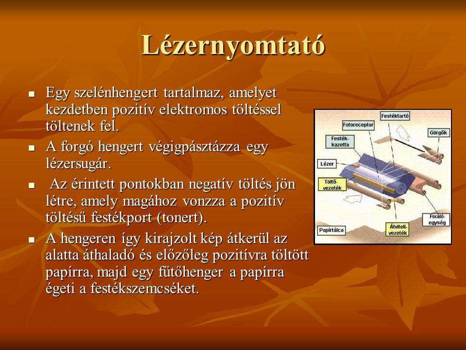 Lézernyomtató Egy szelénhengert tartalmaz, amelyet kezdetben pozitív elektromos töltéssel töltenek fel.