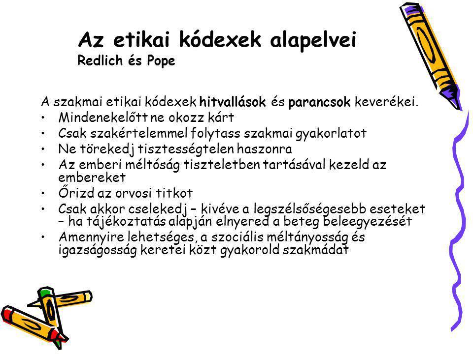 Az etikai kódexek alapelvei Redlich és Pope