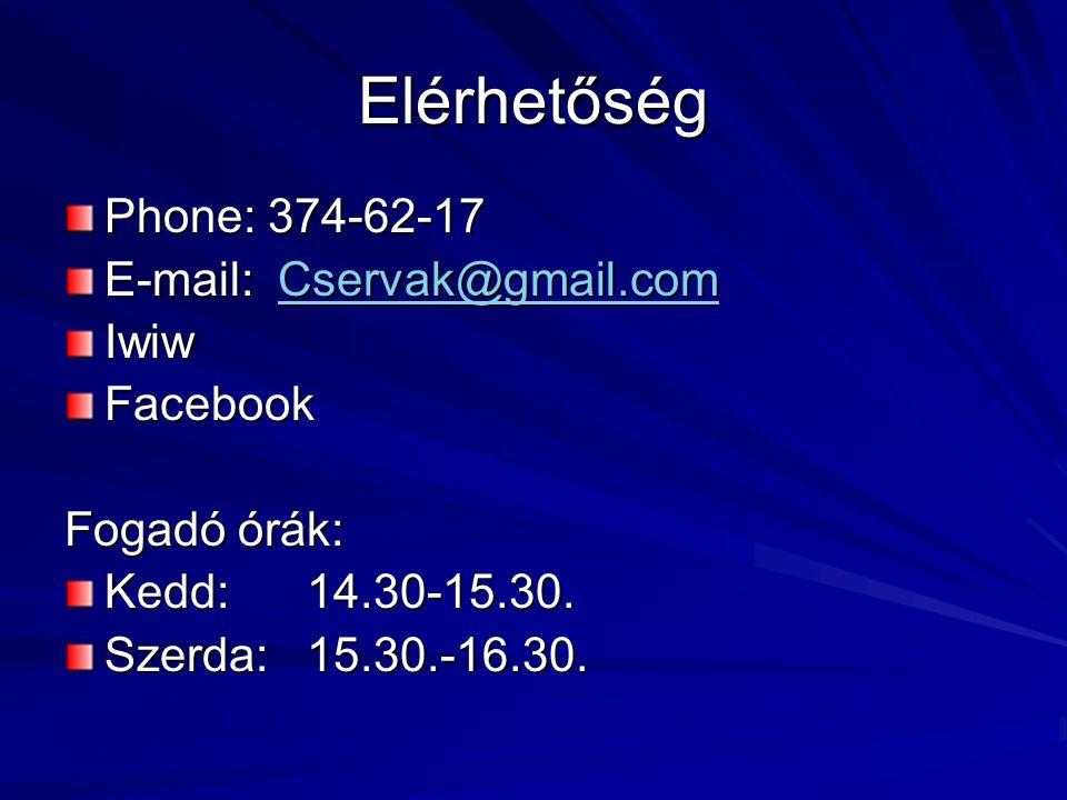 Elérhetőség Phone: 374-62-17 E-mail: Cservak@gmail.com Iwiw Facebook