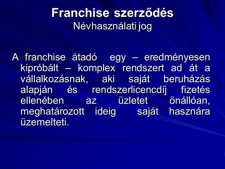 Franchise szerződés Névhasználati jog