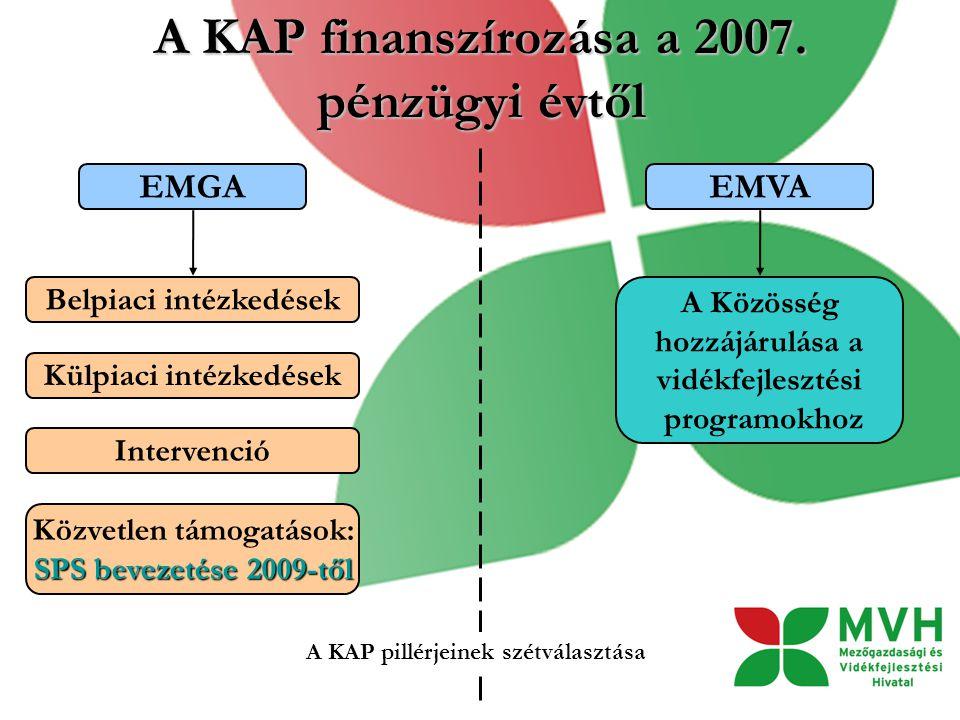 A KAP finanszírozása a 2007. pénzügyi évtől
