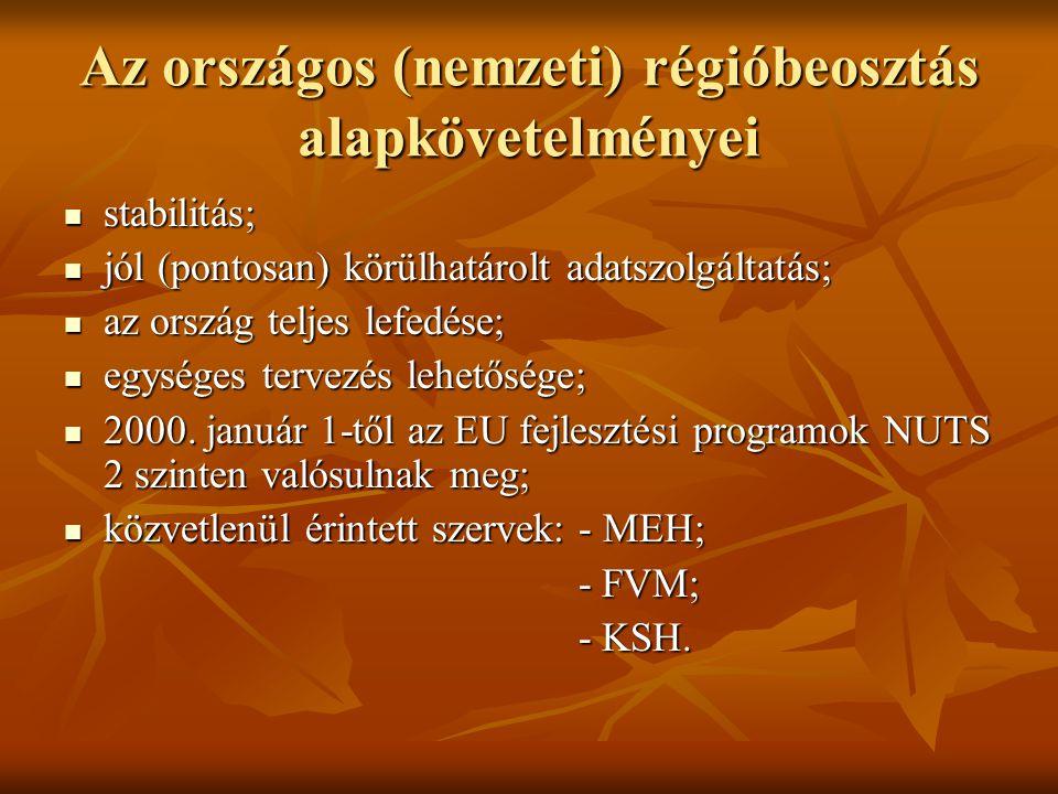 Az országos (nemzeti) régióbeosztás alapkövetelményei