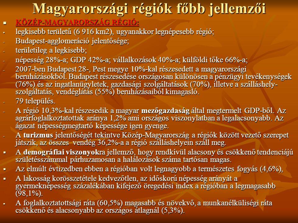 Magyarországi régiók főbb jellemzői