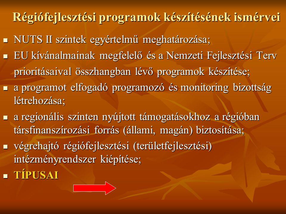Régiófejlesztési programok készítésének ismérvei