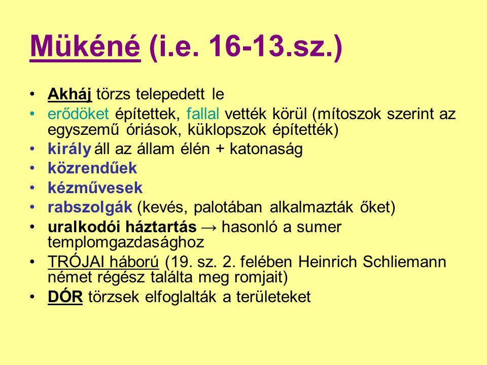 Mükéné (i.e. 16-13.sz.) Akháj törzs telepedett le