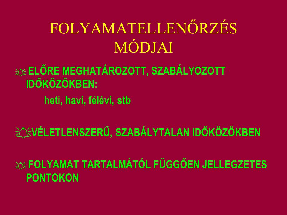 FOLYAMATELLENŐRZÉS MÓDJAI