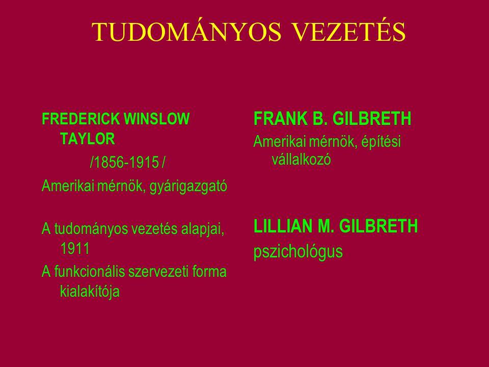 TUDOMÁNYOS VEZETÉS FRANK B. GILBRETH LILLIAN M. GILBRETH pszichológus
