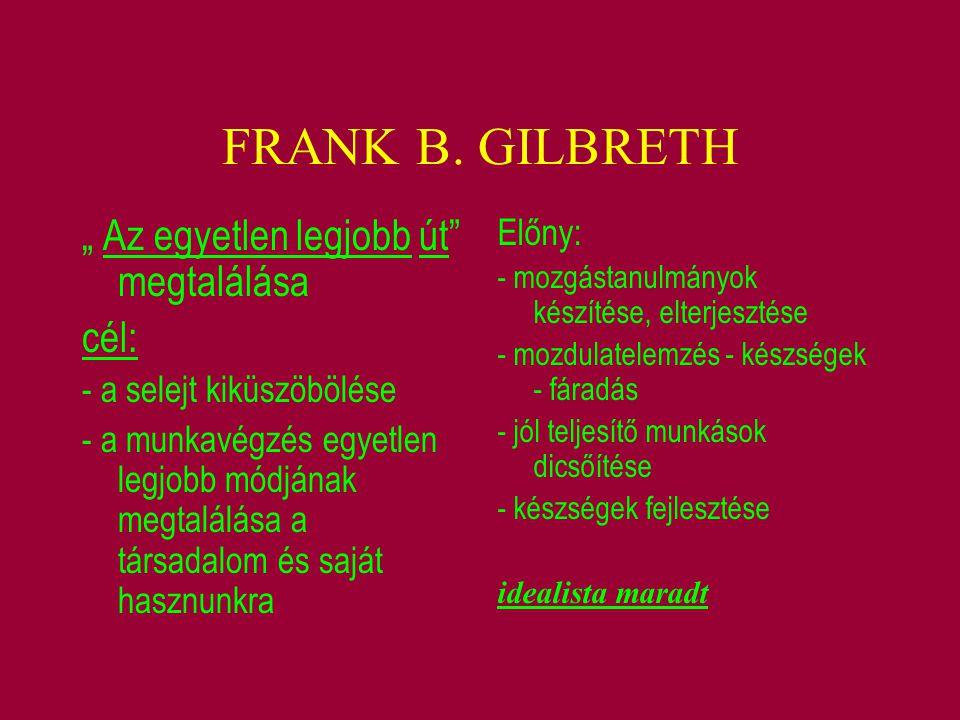 """FRANK B. GILBRETH """" Az egyetlen legjobb út megtalálása cél: Előny:"""