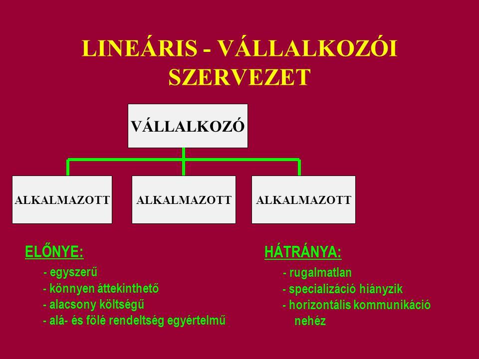LINEÁRIS - VÁLLALKOZÓI SZERVEZET