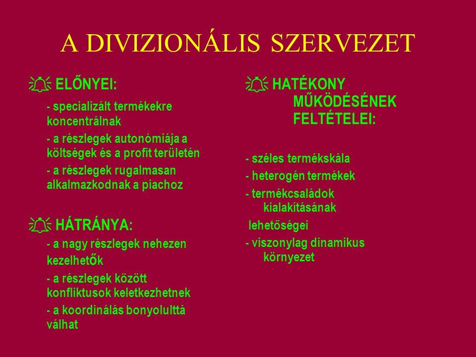 A DIVIZIONÁLIS SZERVEZET