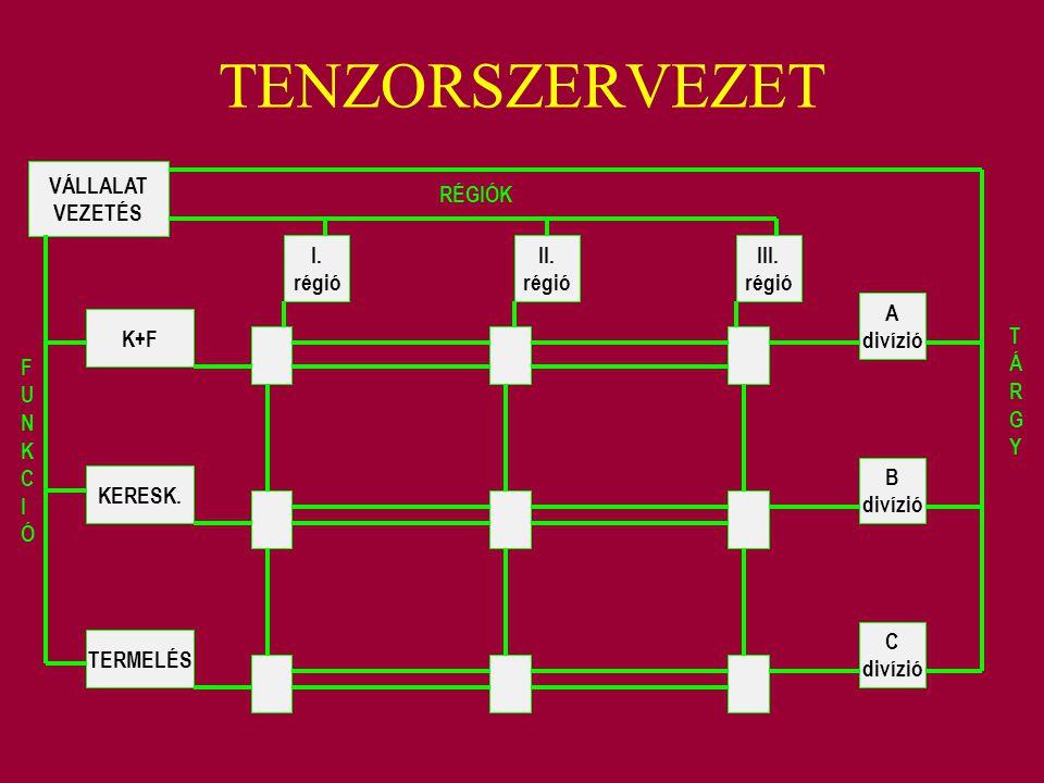 TENZORSZERVEZET VÁLLALAT VEZETÉS RÉGIÓK I. régió II. régió III. régió