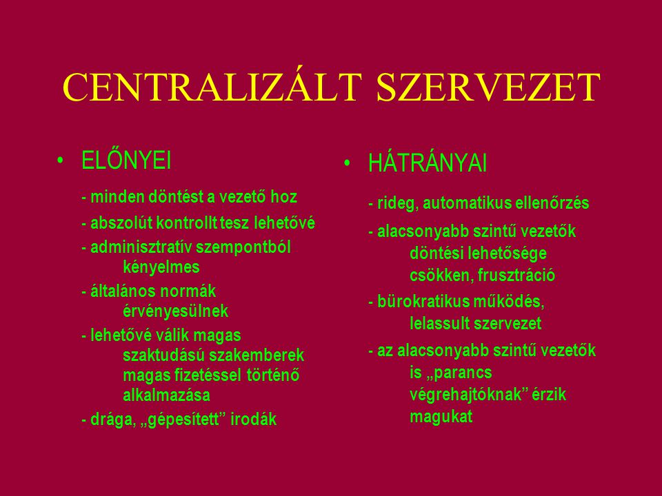 CENTRALIZÁLT SZERVEZET