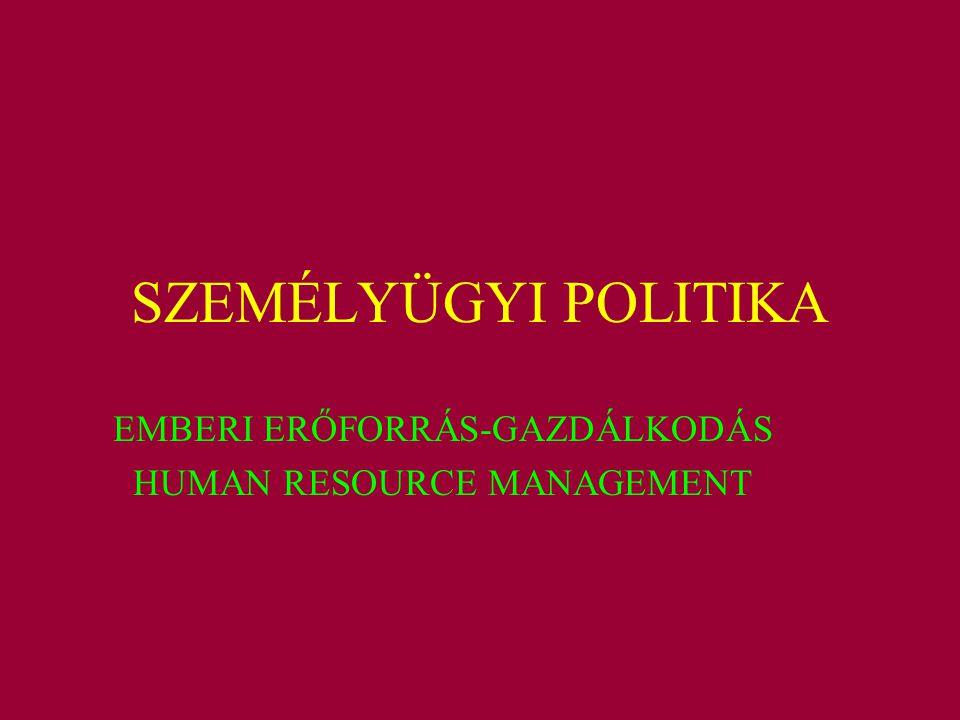 EMBERI ERŐFORRÁS-GAZDÁLKODÁS HUMAN RESOURCE MANAGEMENT