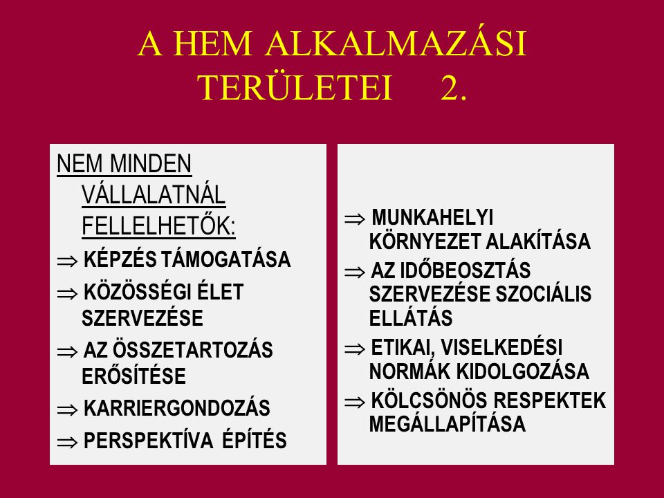 A HEM ALKALMAZÁSI TERÜLETEI 2.