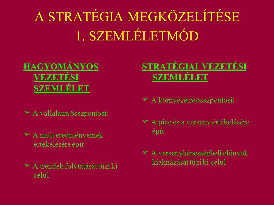A STRATÉGIA MEGKÖZELÍTÉSE 1. SZEMLÉLETMÓD