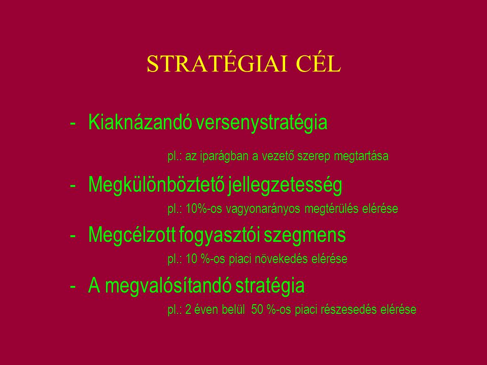 STRATÉGIAI CÉL Kiaknázandó versenystratégia