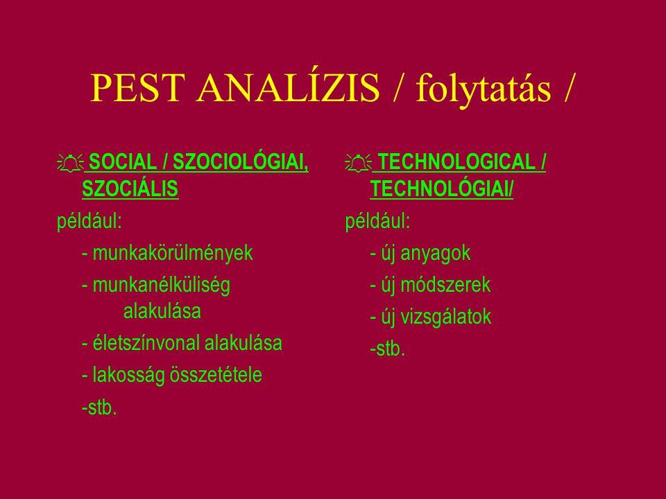 PEST ANALÍZIS / folytatás /