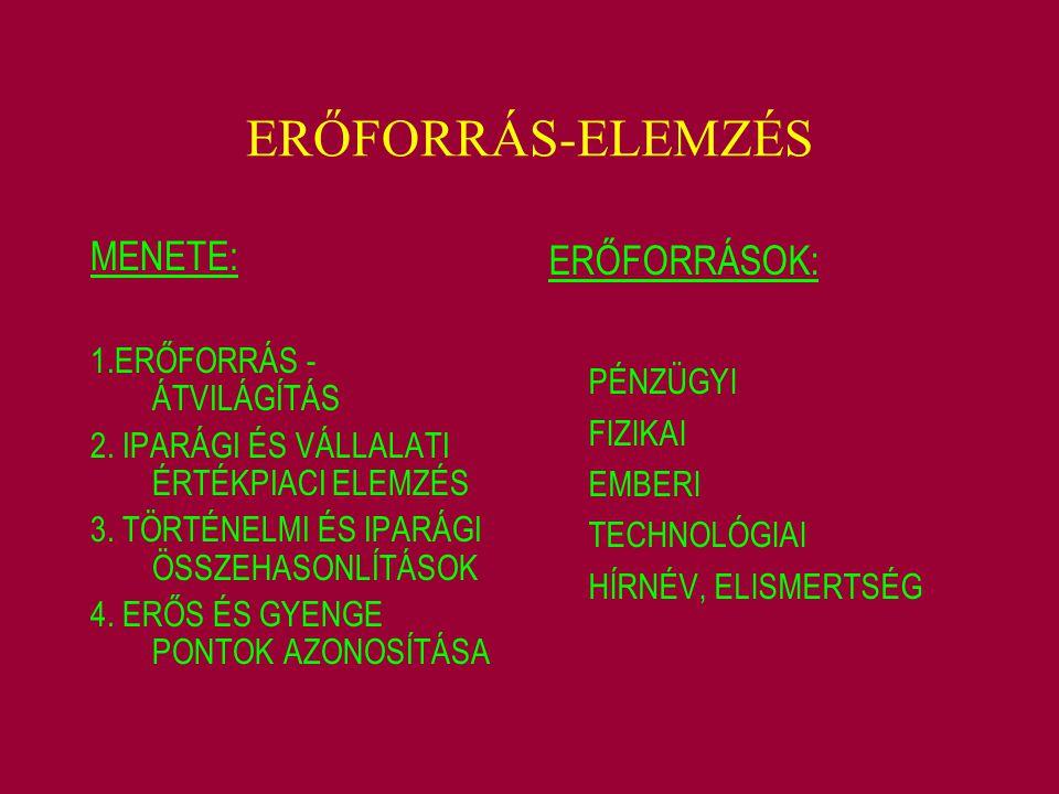 ERŐFORRÁS-ELEMZÉS MENETE: ERŐFORRÁSOK: PÉNZÜGYI
