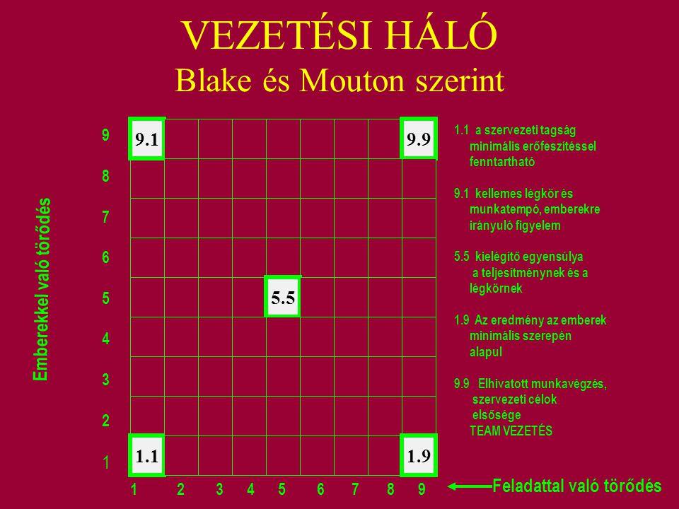 VEZETÉSI HÁLÓ Blake és Mouton szerint