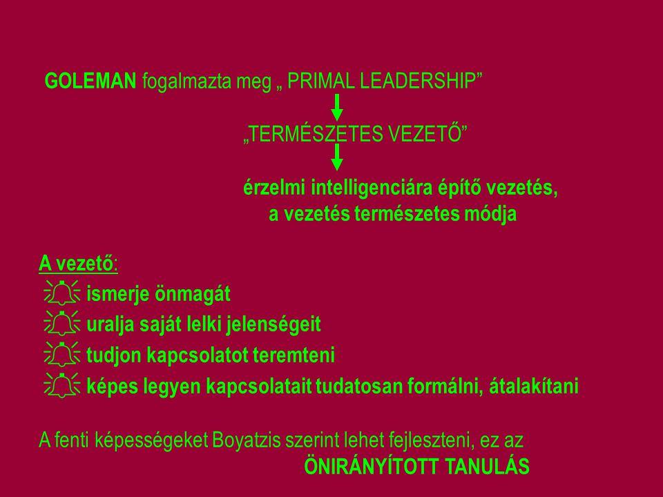 "GOLEMAN fogalmazta meg "" PRIMAL LEADERSHIP"